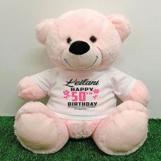 Personalised 50th Birthday Bear Light Pink 40cm