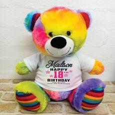 Personalised 18th Birthday Bear Rainbow 40cm