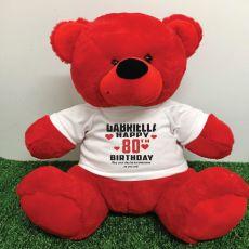 Personalised 80th Birthday Bear 40cm Red
