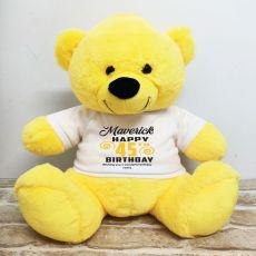 Personalised Birthday Bear Yellow 40cm
