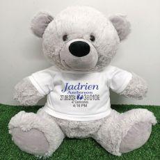 Personalised Newborn Bear 40cm Grey Plush