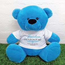 Personalised Memory Teddy Bear 40cm Bright Blue