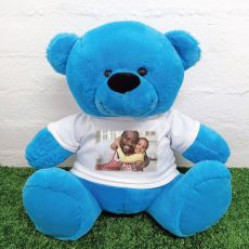 Personalised Photo Teddy Bear 40cm Bright Blue
