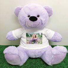 Personalised Photo Teddy Bear 40cm Lavender