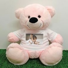 Personalised Photo Teddy Bear 40cm Light Pink