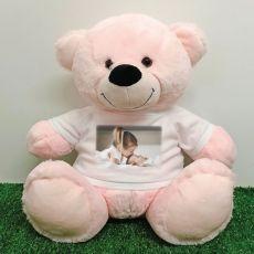 Personalised Photo Teddy Bear 40cm Light Pink