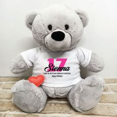 Recordable Birthday Bear Grey 40cm