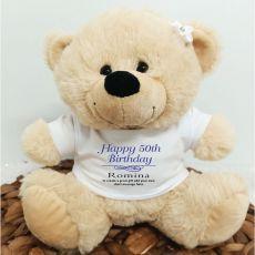 50th Birthday Bear Cream Plush