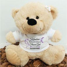 Personalised Flower Girl Bear Cream Plush