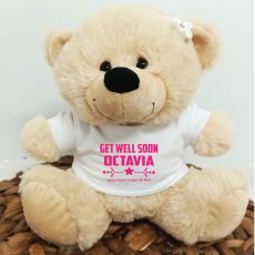 Personalised Get Well Bear Cream Plush