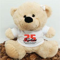 Birthday Teddy Bear Cream Personalised Plush