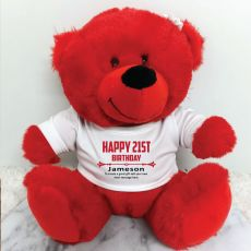 Personalised 21st Birthday Bear Red Plush