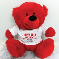 Personalised 40th Birthday Bear Red Plush