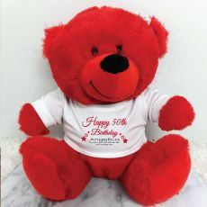 Personalised 50th Birthday Bear Red Plush