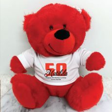 Personalised 50th Teddy Bear Red Plush