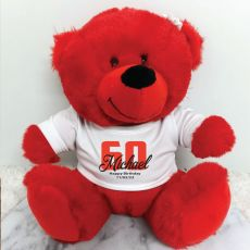 Personalised 60th Teddy Bear Red Plush