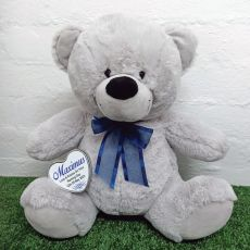 Naming Day Keepsake Bear with heart Grey / Blue 40cm
