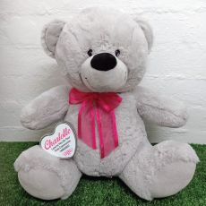 Holy Communion Keepsake Bear with heart Grey / Pink 40cm