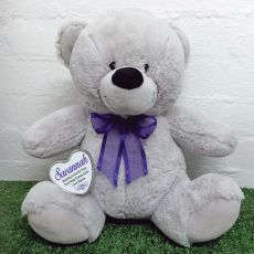 Communion Keepsake Bear with heart Grey / Purple 40cm
