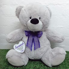 Christening Keepsake Bear with heart Grey / Purple 40cm