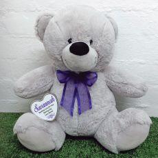 Naming Day Keepsake Bear with heart Grey / Purple 40cm