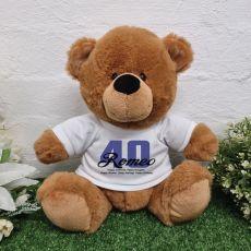 Personalised 40th Birthday Bear Brown Plush 30cm