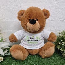 40th Birthday Personalised Birthday Bear Brown Plush 30cm