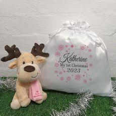 1st Christmas Reindeer & Christmas Sack- Pink