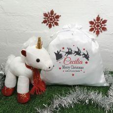 Christmas Unicorn & Christmas Sack - Sleigh
