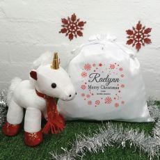 Christmas Unicorn & Christmas Sack - Snowflake