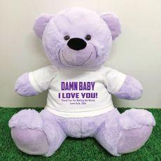 Naughty Love You Valentines Bear - 40cm Lavender