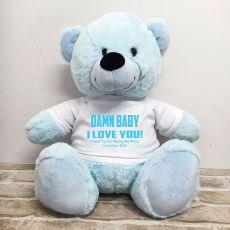 Naughty Love You Valentines Bear - 40cm Light Blue