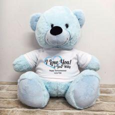 Valentines Bear Love Your Naughty Bits - 40cm Light Blue