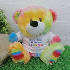 Birthday Rainbow Bear Personalised Plush