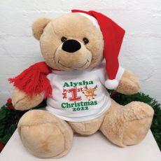 1st Christmas Personalised Bear 40cm Reindeer T-Shirt