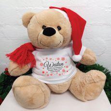 Personalised Christmas Bear 40cm Snowflake T-Shirt