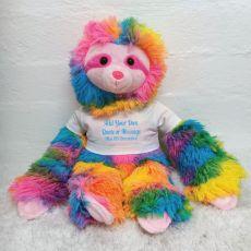 Custom Text T-Shirt Rainbow Sloth Plush