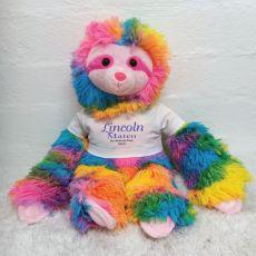 Personalised Baby Rainbow Sloth Plush