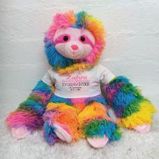 Personalised Baby Birth Details Rainbow Sloth Plush
