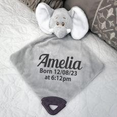 Personalised Elephant Baby Comforter, Rattle & Teether