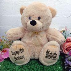70th Personalised Teddy Bear 30cm Cream