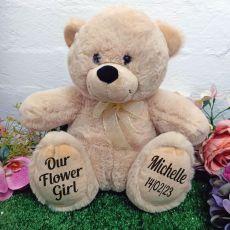 Flower Girl Personalised Teddy Bear 30cm Cream