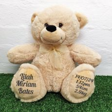 Baby Birth Details Teddy Bear 40cm Plush Cream