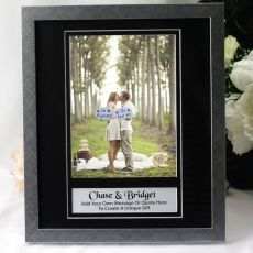 Engagement Personalised Photo Frame 6x8 Black/Silver