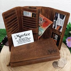 Personalised Brown Leather Purse RFID - Aunty