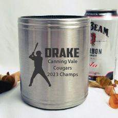 Baseball Coach Engraved Silver Stubby Can Cooler Personalised Message
