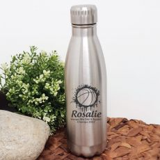 Basketball Coach Engraved Stainless Steel Drink Bottle - Silver