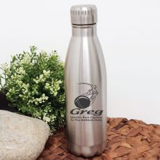 Cricket Coach Engraved Stainless Steel Drink Bottle - Silver