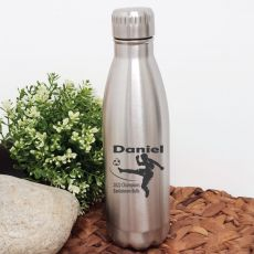 Soccer Coach Engraved Stainless Steel Drink Bottle - Silver