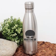 Swim Coach Engraved Stainless Steel Drink Bottle - Silver